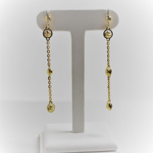 18k Yellow Gold Sterling Silver Officina Bernardi Essential Straight Drop Earrings