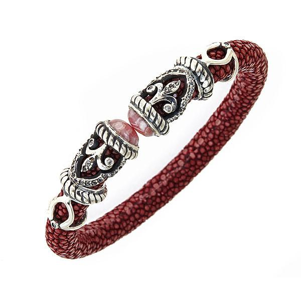 Rope Scroll Bangle In Burgundy