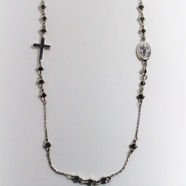 Sterling Silver Officina Bernardi Black Sapphire Religious Necklace