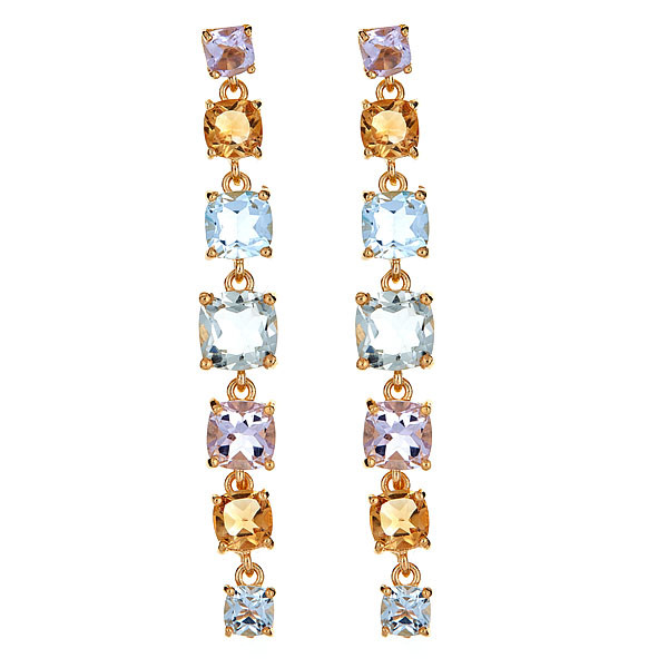 Yellow Gold finish Multi Colored Gemstone Drop Earrings