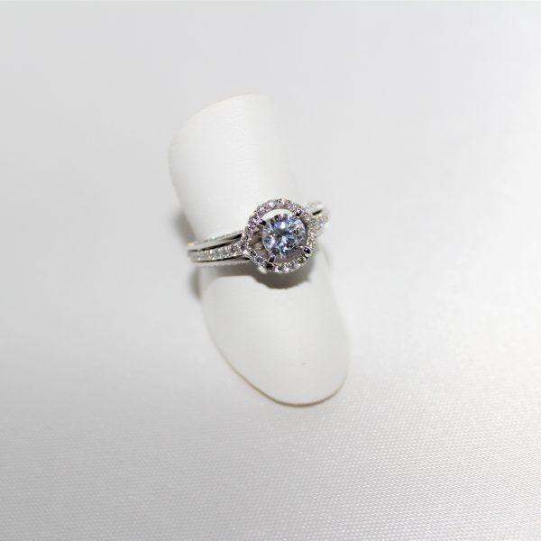 14K White Gold Open Halo Diamond Engagement Ring