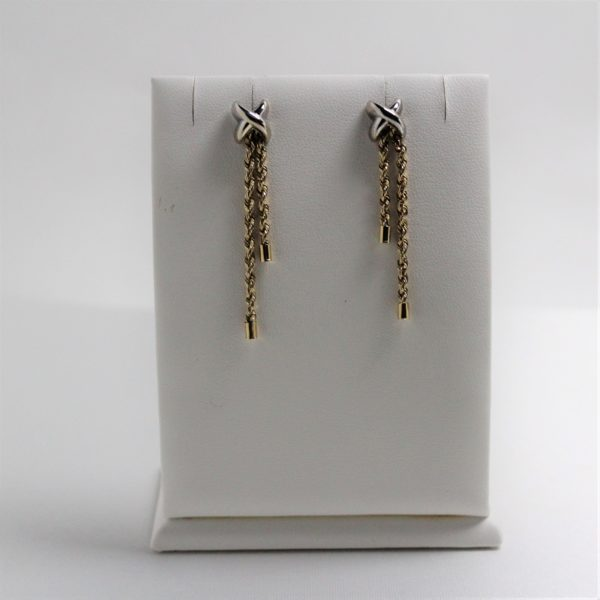 14K Two-Tone X and Rope Dangle Earrings