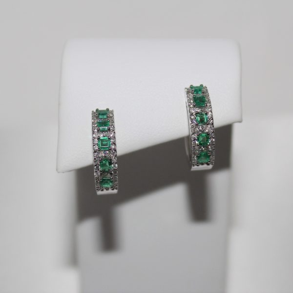 14K White Gold Emerald and Diamond Hoop Earrings