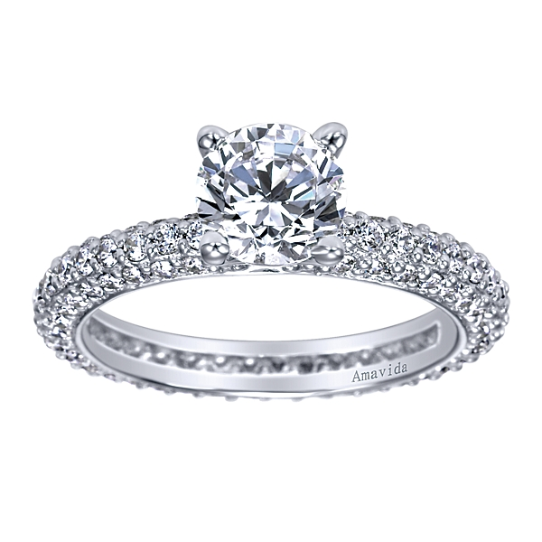 18K White Gold Gabriel & Co. Pave Engagement Ring