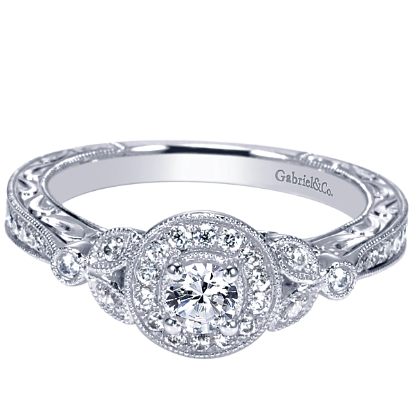 14K White Gold Gabriel&Co. Vintage Style Engagement Ring