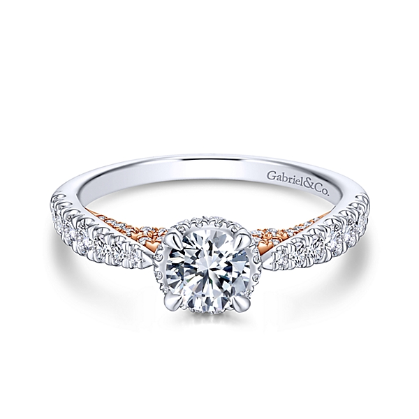 14K White/Rose Gold Gabriel&Co. Lacey Engagement Ring