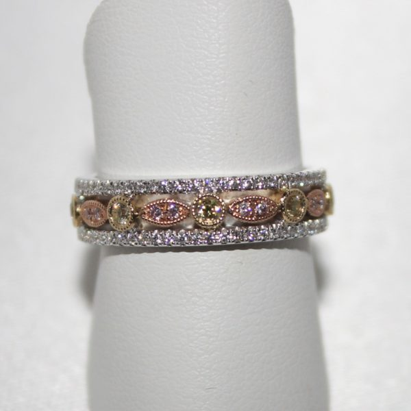 14K Tri-Color Fancy Colored Diamond Band
