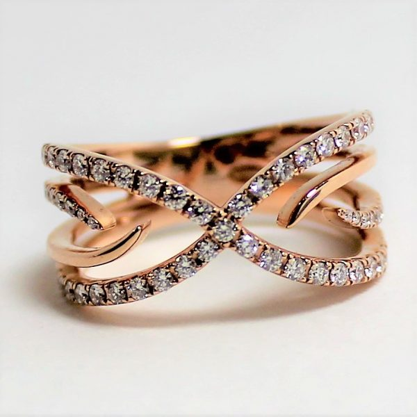 "14K Rose Gold ""X"" Diamond Ring"