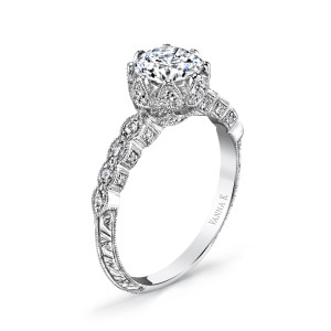 "18K White Gold Vanna K ""Perfect Profile"" Engagement Ring"