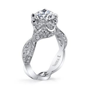 18K White Gold Vanna K Twisted Engagement Ring