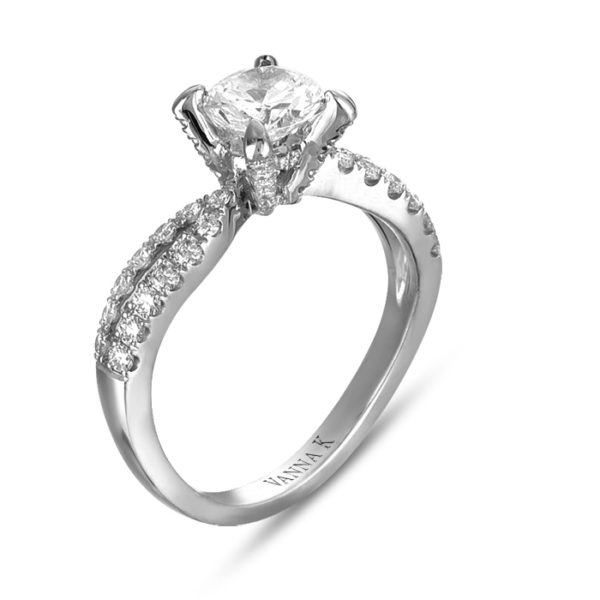 18K White Gold Vanna K Vintage Inspired Engagement Ring