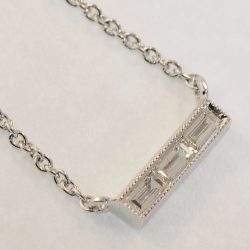 18K White Gold Three Baguette Diamond Bar Necklace