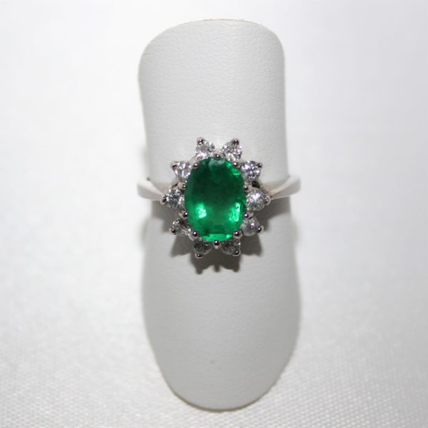 "14K White Gold ""Princess Diana"" Style Emerald and Diamond Ring"