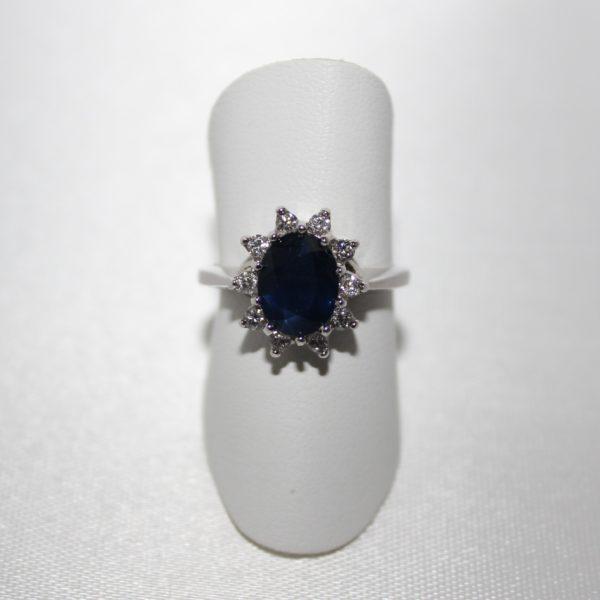 "14K White Gold ""Princess Diana"" Sapphire and Diamond Ring"
