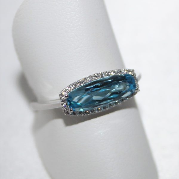 14K White Gold Fancy Shaped Blue Topaz and Diamond Ring