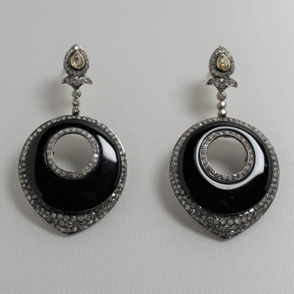 Sterling Silver and 14K Gold Onyx and Diamond Earrings