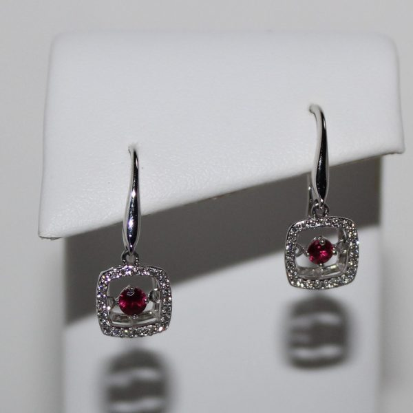 14K White Gold Floating Ruby and Diamond Drop Earrings