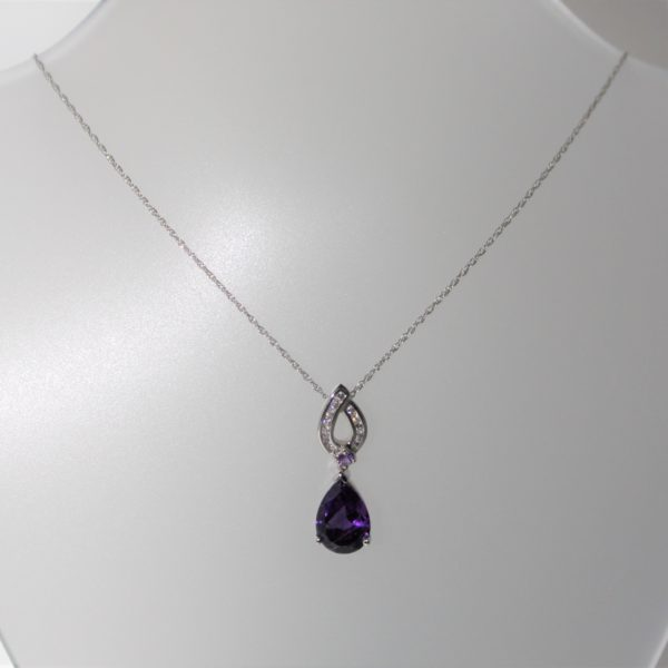 14K White Gold Amethyst and Diamond Tear Shaped Pendant