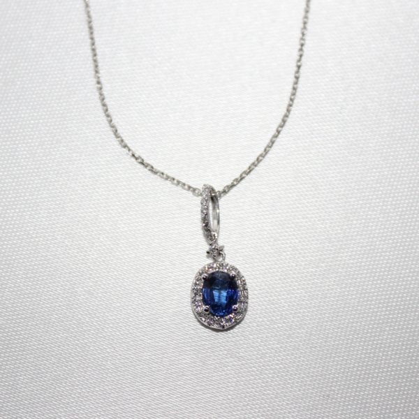14K White Gold Sapphire and Diamond Oval Shaped Pendant
