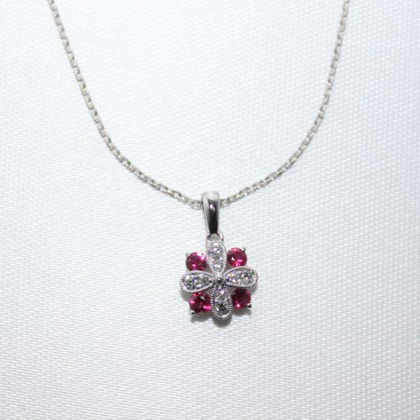 14K White Gold Ruby and Diamond Pendant