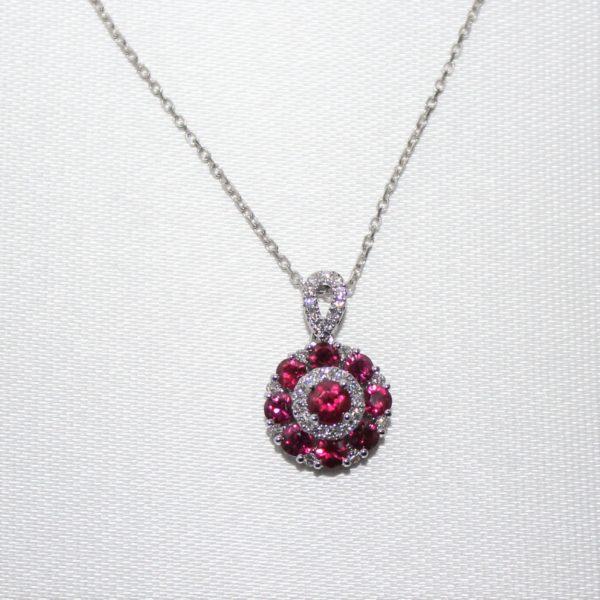 14K White Gold Ruby and Diamond Circular Pendant