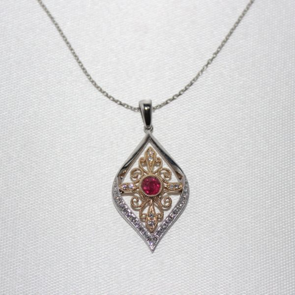 14K White Gold Ruby and Diamond Vintage Inspired Pendant