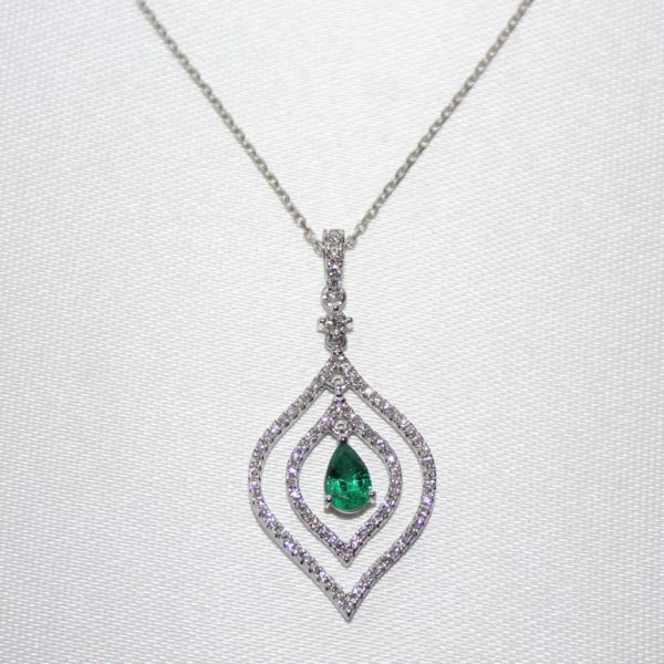 14K White Gold Emerald and Diamond Tear Shaped Pendant