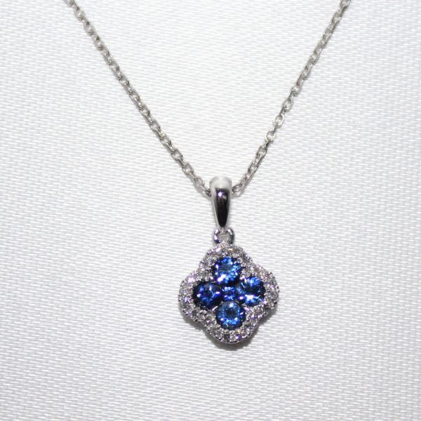 14K White Gold Sapphire and Diamond Clover Pendant