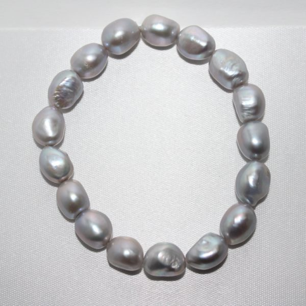 8-9mm Fresh Water Silver Baroque Pearl Bracelet.