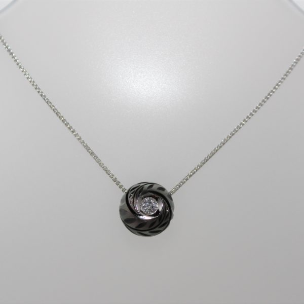 14K Galatea Black Tahitian Carved Pearl with Diamond Necklace