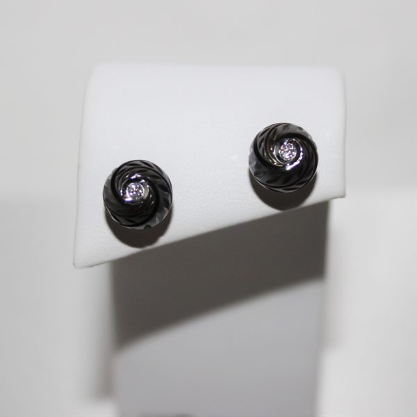 14K Galatea Black Tahitian Pearl Studs with Diamonds