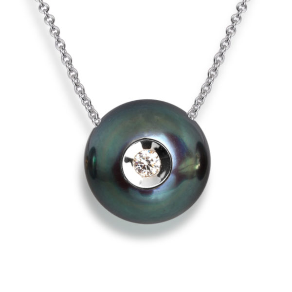 14K Galatea Diamond in a Pearl Black Necklace