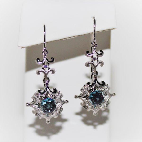 14K White Gold Galatea Blue Topaz and Diamond Earrings