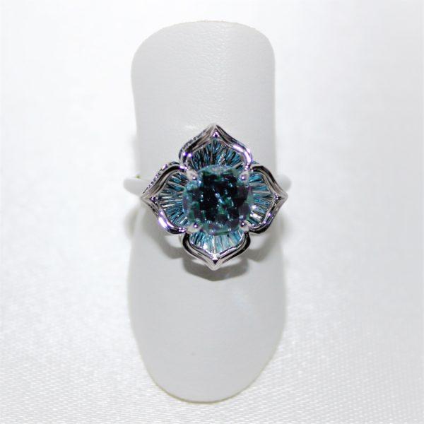 14K White Gold Galatea Blue Topaz Clover Ring