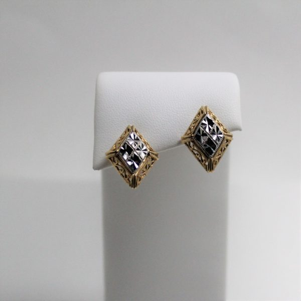 14K Two-Tone Diamond Shape Earrings