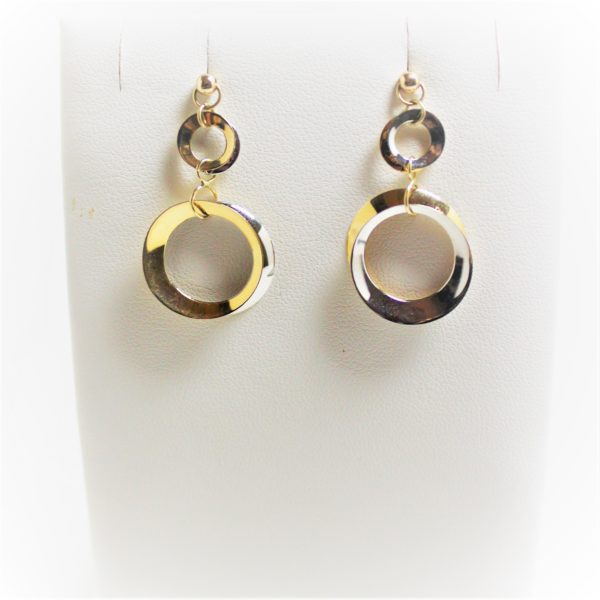 14K Two-Tone Circle Earrings