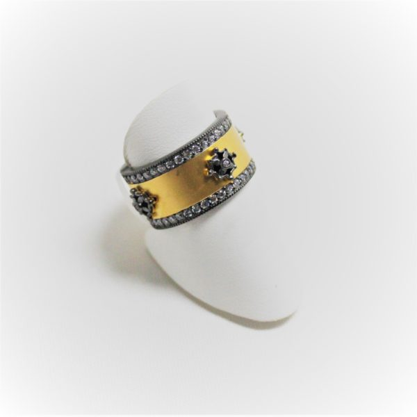 Gold and Sterling Silver Freida Rothman Wide CZ Band