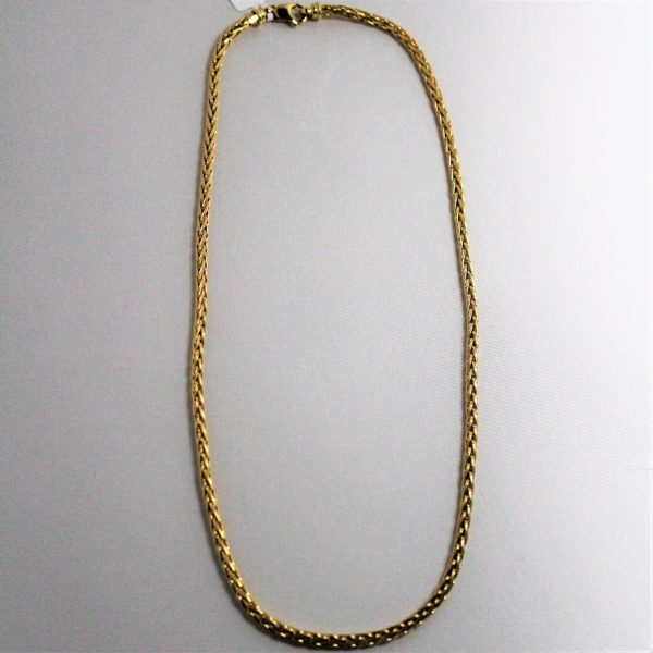 14K Yellow Gold Round Wheat Necklace
