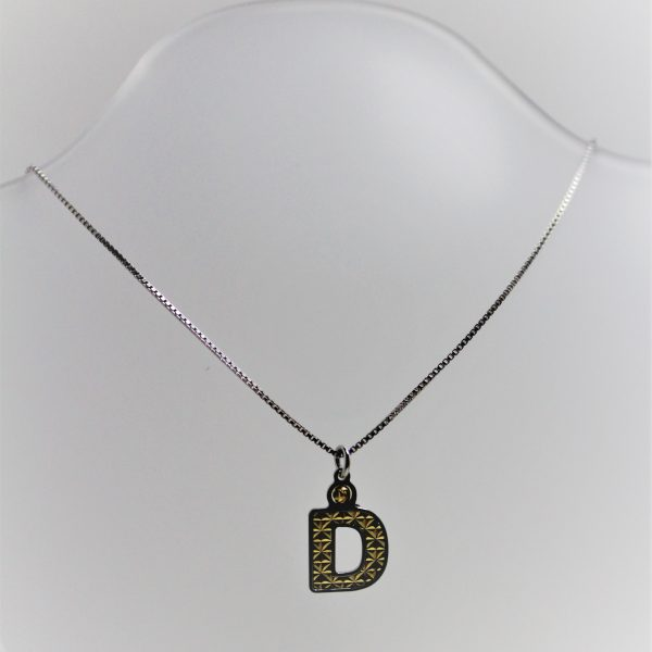 """Sterling Silver and 18K Gold Officina Bernardi """"D"""" Initial Necklace"""