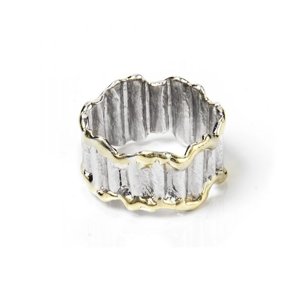 Gold and Sterling Silver Wavy Band