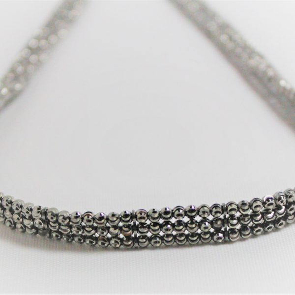 Sterling Silver Gunmetal Three Row Choker