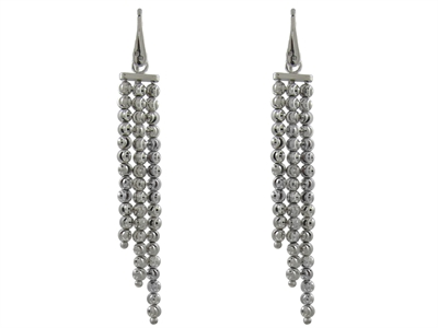 Sterling Silver Officina Bernardi Three Row Diamond Cut Dangle Earring