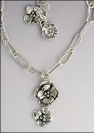 Sterling Silver Sherry Tinsman Double Flower Necklace