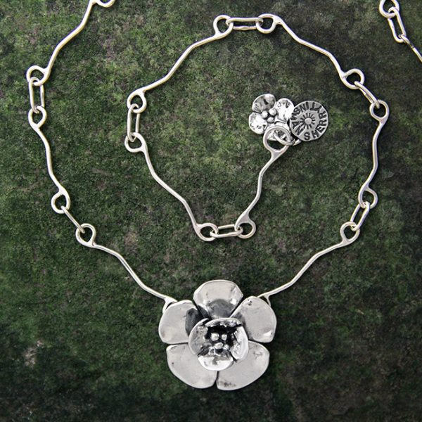Sterling Silver Sherry Tinsman Double Dogwood Necklace