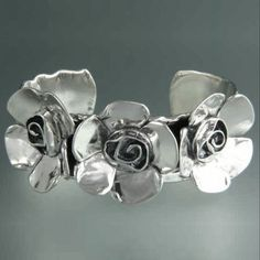 Sherry Tinsman Sterling Silver Three Petal Rose Cuff