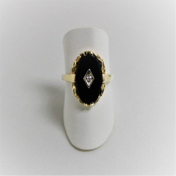 10K Yellow Gold Black Onyx Estate Ring