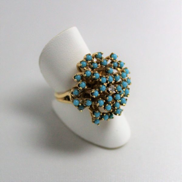 14K Yellow Gold Turquoise Cluster Estate Ring