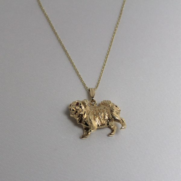 14K Yellow Gold and Ruby Estate Dog Charm
