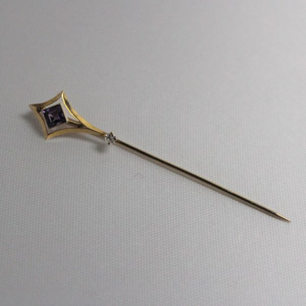 14K Yellow Gold Amethyst Estate Stick Pin