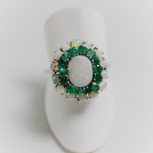 14K White Gold Opal and Emerald Estate Ring